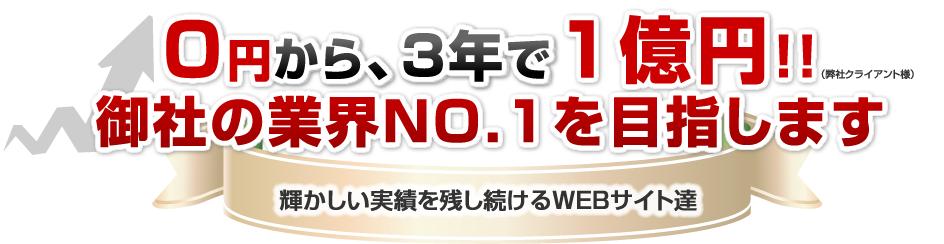 0円から、3年で1億円!!御社の業界NO.1を目指します 輝かしい実績を残し続けるWEBサイト達